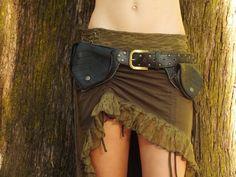 Handmade 100% Recycled Leather Black Leaf Pocket Belt Hip Bag Fanny Pack Goa Fairy Gypsy Hippie Festival Travel Utility Handy Secure Sylish
