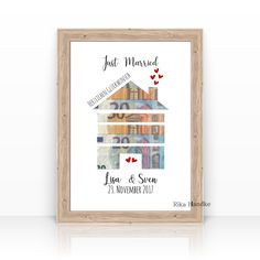 Gift wedding money gift house wedding gift gift personalized name bridesmaid gift idea moving - without frame