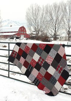 Quilting Black and Red plaid flannel quilt - Love this. She used squares to make the blocks - Patchwork Quilt made with red and black plaid and flannel Flannel Quilts, Plaid Quilt, Plaid Flannel, Red Plaid, Wool Quilts, Plaid Shirts, Quilting Projects, Quilting Designs, Quilting Ideas