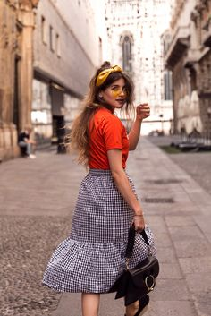 $29 Zalando Must-Have Black And White Gingham Checked Print High Waisted Asymmetrical Ruffled Midi Skirt Matched With Bright Red Plain T-Shirt Cool Retro Yellow Sunglasses And A Matching Yellow Headband Tumblr