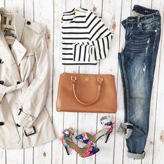 StylishPetite.com | Burberry Trench coat // Ann Taylor striped top // Vigoss jeans // Floral pumps // Tory Burch bag