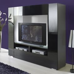 Stylus High Gloss Black Grey Large Tv Stand 6180 05