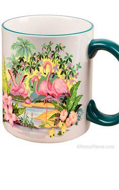 Pink Flamingos Coffee Mug. Reminds me of my Grandma Sandilands!