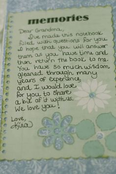 Kissing the Joy as it Flies: Notebook for Grandma (A book of questions to remember your grandma/mom by...I'm so doing this!)
