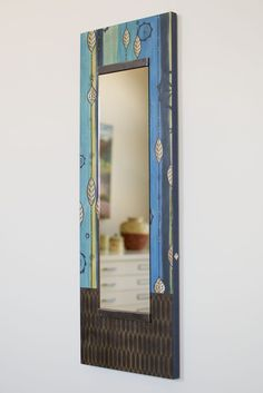 Tall Wall Mirror in Leaf Stripe Blue - $250
