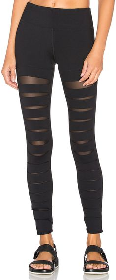 """Onzie track leggings/running tights with bias-cut contrast mesh insets at knees. Approx. measurements: 28.5""""L inseam (size S/M). May be worn as leggings, runnin ** More info could be found at the image url."""