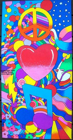 Psychedelic Retro Style Pop Art on Canvas Hippie Peace, Hippie Art, Arte Hippy, Beatles Birthday Party, Peter Max Art, Peace Poster, Guitar Painting, Cardboard Art, Illusion Art