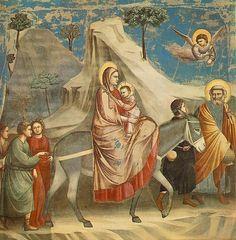 Giotto di Bondone (1267-1337), Cappella Scrovegni a Padova, Life of Christ, Flight into Egypt
