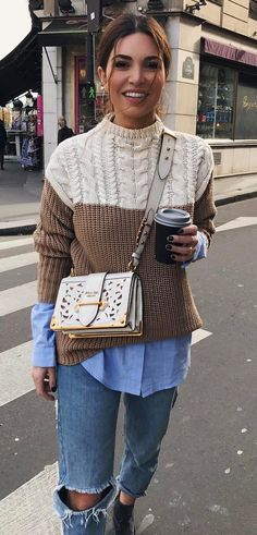 stylish look | knit sweater + blue shirt + ripped jeans + bag