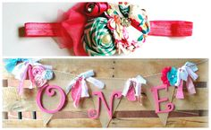 First Birthday Party Décor - Highchair Banner and Headband