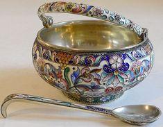 Russian Silver Enamel Sugar Bowl by Maria Semonova 1908-1917