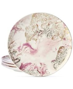 Martha Stewart Collection Harvest 4-Pc. Marbled Salad Plate Set, Created for Macy's - Gray