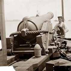 An example of a Civil War era rifle cannon and rigging. An eye hook can be seen in the foreground at right, attached to a line. Eye hooks were used to position the cannon in place prior to firing.