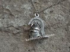 Athenian Helmet with Owl Necklace Pendant by kerdooscreations
