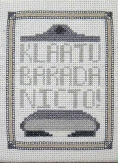 Klaatu barada nicto free cross stitch chart day the earth stood still science fiction sampler