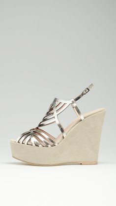 Pearl grey strap wedges featuring 5.1