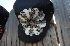 Ladies Cadet hat w/flower. $25.00, via Etsy.