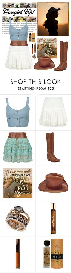 """Cowgirl Outfit"" by whims-and-craze ❤ liked on Polyvore featuring Topshop, Misa, Ariat, P. Graham Dunn, Lucky Brand, Elizabeth and James, Becca, Rochas and country"
