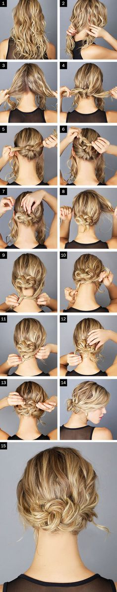 Hair for HB's wedding? The Messy Knot Bun --- if your hair feels silky/slippery, you might want to spray it with a texturizer, sea salt spray, or dry shampoo before you begin. Messy Bun Hairstyles, Pretty Hairstyles, Wedding Hairstyles, Popular Hairstyles, Summer Hairstyles, Latest Hairstyles, Easy Beach Hairstyles, French Hairstyles, Homecoming Hairstyles