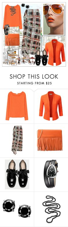 """""""The bustle of the big city"""" by m-kints ❤ liked on Polyvore featuring American Vintage, Doublju, Marni, Boutique Moschino, Bulgari, Carolee and plaid"""