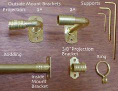 Arts & Crafts Period Textiles: Brass Curtain Hardware