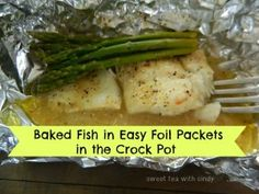 Fish + your favorite seasonings, lemon juice and butter in tin foil packets in the Crock Pot = easy supper tonight!