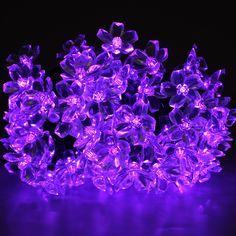 1 of 7: Elegance Purple Solar Powered Light String 100LED Shine 17m Outside Indoor Lamp
