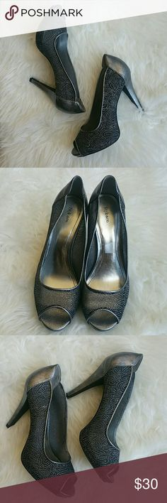 "Style&Co glitter heels These are absolutely beautiful! Metallic gray. 3"" heels. Worn once. Near-perfect condition. Style & Co Shoes Heels"
