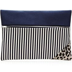 Vanities Striped and Printed Zip Clutch (695 PLN) found on Polyvore