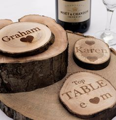 Personalised Rustic Log Slices, Coasters, Engraved on One Side. Vintage Wedding Favours or Place Names Homemade Wedding Favors, Handmade Wedding Favours, Vintage Wedding Favors, Wedding Ideas, Wedding Tables, Wedding Stuff, Wedding Inspiration, Wooden Log Slices, Wooden Tree