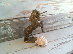 Solid brass unicorn figurine detailed with by happydayantiques, $25.00