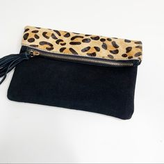 bam forever Bags | Bam Forever Brand Black Leopard Clutch | Poshmark Leopard Clutch, Foldover Clutch, Gold Hardware, Gold Chains, Polka Dots, Outfit, Stuff To Buy, Bags, Things To Sell