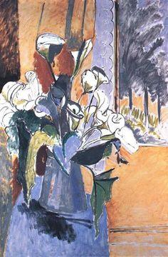 """""""Flores no peitoril da janela"""", óleo sobre tela por Henri Matisse (1869-1954, France)"""