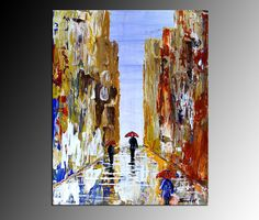 Original; Acrylic Abstract Art Painting City Landscape Tick Textured Urban Rain  #Abstract