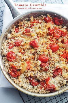 Tomato Crumble | www.diethood.com | The intense flavor of roasted tomatoes topped with a deliciously cheesy crumb-topping. http://diethood.com/tomato-crumble/