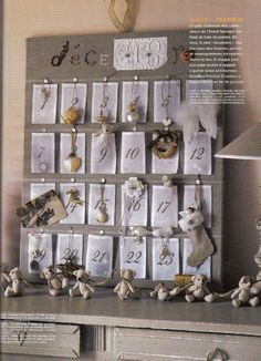Advent calender, use cotton bags (see link below) to make the cotton pockets , an ornament in each.  ...  http://www.harvestimport.com/product.jhtm?id=5456&cid=2074