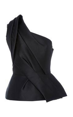 One Shoulder Peplum Top by MONIQUE LHUILLIER for Preorder on Moda Operandi