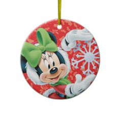 Minnie Holding Snowflake Christmas Ornament