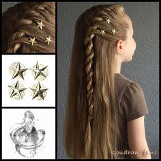 French twist braid with star curlies