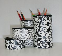 Recycled can desk organizer on Etsy....possible DIY