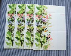Vintage Spring Flower Fold it Notes  set of 4 by sewsewetc on Etsy, $3.00