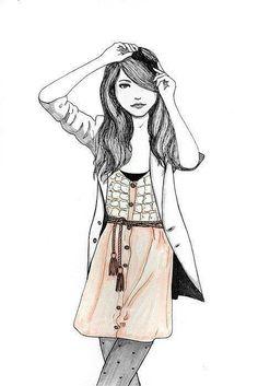 drawing for girls | cute, drawing, fashion, fashion art, girl - inspiring picture on Favim ...