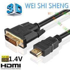 Hdmi dvi kabel vergoldete stecker dvi-kabel 5 mt 3 mt 2 mt 1 mt dvi-d 24 + 1 pin adapter high speed 3d 1080 p für lcd hdtv xbox ps3 19