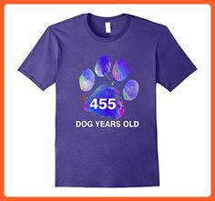 Mens Awesome 455 Dog Years Old T-Shirt Funny 65th Birthday Gift 2XL Purple - Birthday shirts (*Partner-Link)