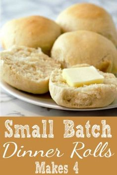 This small batch of buttery rolls bakes up soft and tender. This easy recipe makes just 4 rolls and is a perfect side dish for so many recipes ranging from easy weeknight casseroles, steak, chicken, pork or Thanksgiving Dinner for two. Homemade Dinner Rolls, Dinner Rolls Recipe, Dinner Rolls Easy, Easy Recipe For Rolls, Homemade Breads, Easy Recipes For One, Recipes For One Person, Dinner Recipes, Cooking For One