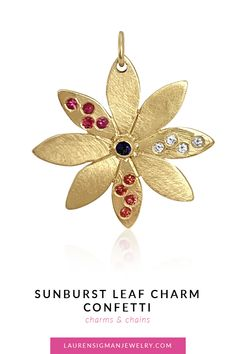 Our Confetti Sunburst Leaf charm is exquisite! It has beautiful Pink and Orange Sapphires and diamonds sprinkled all over! Yellow Gold Length is Width is Gemstones included are Pink and Orange Sapphires and diamonds Orange Sapphire, Confetti, Jewelry Collection, Charmed, Gemstones, Christmas Ornaments, Diamond, Holiday Decor, Gold