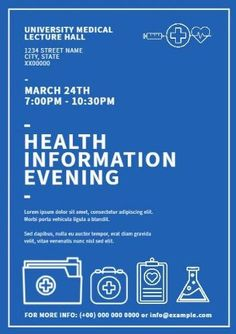 A promotional poster template. Health information evening with white illustrations of medical supplies.