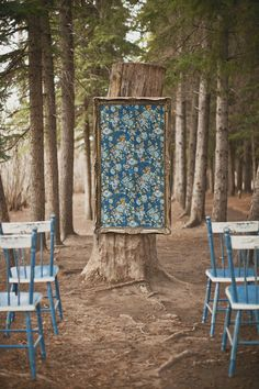 rustic-outdoor-ceremony-blue-chairs-frame-gold backdrop (2)