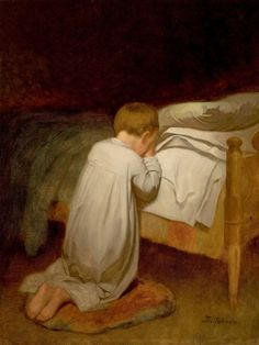 Fine Art - Painting, American:Other , EASTMAN JOHNSON (American, Child at Prayer,circa Oil on canvas laid on masonite. 36 x 27 inches Most Famous Paintings, Famous Artists, Evening Prayer, Catholic Kids, Christian Art, Religious Art, Prayers, Fine Art, Children