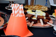 Striped Straws in Orange Cone - Clever decor for a construction-themed party!